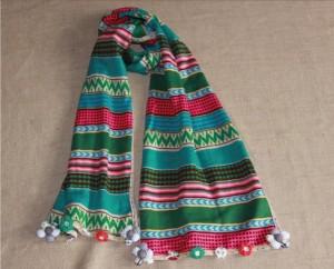 冬ボヘミアン風 民族風マフラーニット女秋冬カラー縞柄ストール マフラー