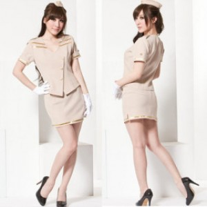萌系 ライトブラウン ポリエステル スチュワーデス制服 3点セット衣装