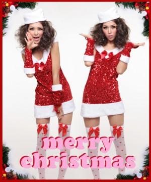 スパンコールサンタ衣装 クリスマス サンタクロース コスプレ 衣装