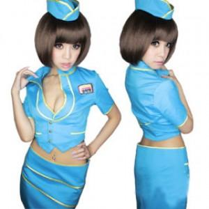 誘惑系 ブルー ポリエステル スチュワーデス制服 3点セット衣装
