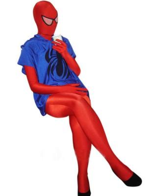 レッドとブルー ライクラ スパンデックス スパイダーマン 全身 タイツ衣装