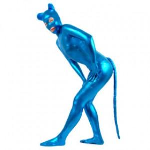 ブルー 純色 シャイニー メタリック 女性 スパンデックス キャットスーツ衣装