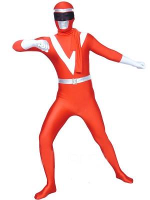 レッドとホワイト ライクラ メタリック 戦闘員 タイツ 全身 タイツ衣装