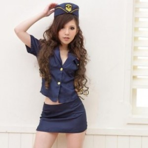 セクシー風 インクブルー ポリエステル スチュワーデス制服 3点セット衣装
