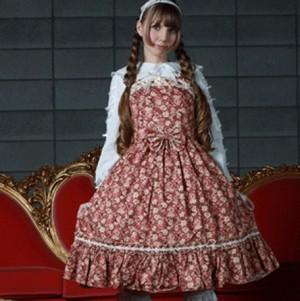メシア 小花ジャンパースカート L036 ゴスロリロリータパンクコスプレコスチュームメイド衣装