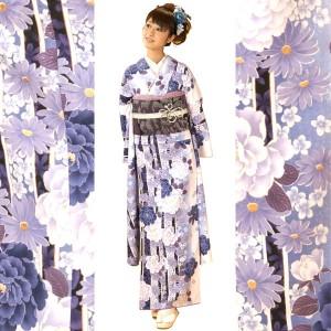 小紋振袖着物 単品 淡い青系お花柄(白×水色)