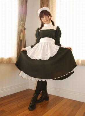 ロールカラーの胸ヨークメイドワンピ衣装   制服 コスチューム コスプレ衣装