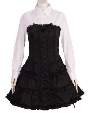 コルセット調ロングレースアップドレス p146 ゴスロリロリータパンク・コスプレコスチュームメイド衣装