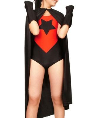 女性用 レッドとブラック ライクラ スパンデックス 戦闘員 タイツ 全身 タイツ衣装