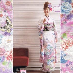 絵羽振袖着物&袋帯&ショール 3点セット カラフル大花&バラ&アゲハチョウ柄(白)