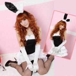 ブラック/ホワイト ポリエステル バニーガール服 ケーキスカート付き 3点セット