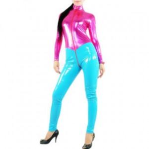 フクシア スパンデックス/シアン 女性 PVC キャットスーツ衣装