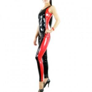 ノースリーブ レッド/ブラック 混色 シャイニー メタリック 女性 PVC キャットスーツ衣装
