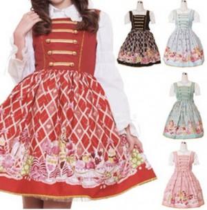 パフェ柄ジャンパースカート ゴスロリ ロリータ パンク コスプレ コスチューム メイド衣装