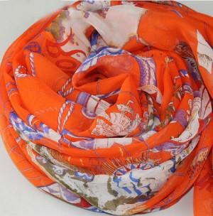 オレンジ地図風 レディース スカーフ マフラー