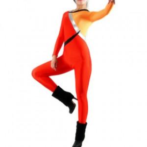 レッド/オレンジ 混色 女性 ライクラ キャットスーツ衣装