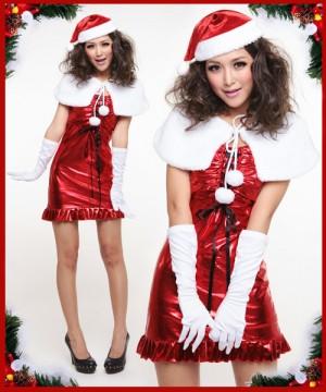 サンタ衣装 白い肩掛け クリスマスドレス
