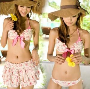 水着/レディース/三角ビキニ/胸前にリボン付きセクシービキニ 多層フリル付きスカート