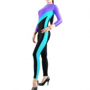 パープル ブルー/ブラック 混色 女性 ライクラ キャットスーツ衣装