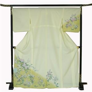 単衣付下げ  ポリエステル 洗える 芍薬や小菊などの可愛い花◇黄色 送料無料