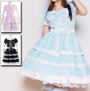 ヒュージリボンドレス L214 ゴスロリ・ロリータ・パンク・コスプレ・コスチューム・メイド衣装