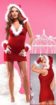 帽子付き SEXYクリスマスサンタクロース Vネック コスチューム