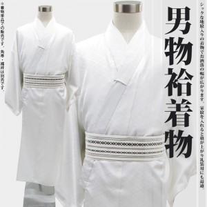 [着物単品販売]男物プレタ無地袷地紋付き着物 洗える着物 ウォッシャブル 【白】