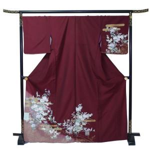 単衣付下げ  ポリエステル 洗える 白い小菊が華やか 赤茶 送料無料