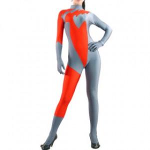 レッド/グレー 混色 女性 ライクラ キャットスーツ衣装