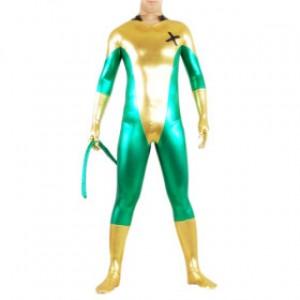 ゴールデン/グリーン 混色 シャイニー メタリック スパンデックス テール付 キャットスーツ衣装