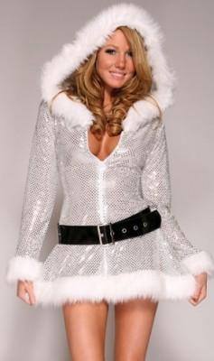銀色長袖クリスマス サンタクロース衣装 コスチューム