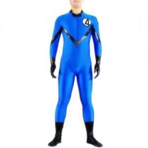 ブルー No.4ファイター ライクラ キャットスーツ衣装