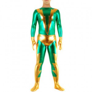 グリーン/ゴールデン 混色 シャイニー メタリック スパンデックス キャットスーツ衣装