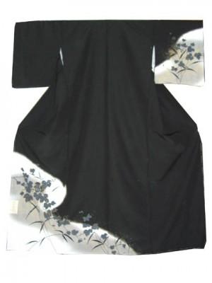 単衣 付下げ 洗える モノトーンで渋い葉柄 黒 送料無料