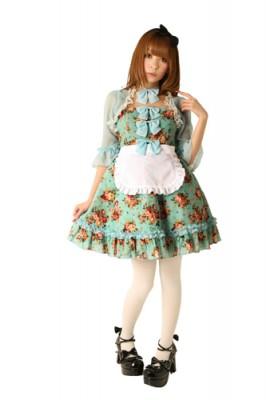 レトロなブーケ柄はお茶会にぴったり衣装!ローズガーデンアリス 色:グリーン サイズ:M