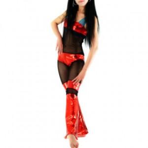 ブラック シルク/レッド シャイニー メタリック 女性 スパンデックス キャットスーツ衣装