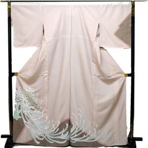 単衣 付下げ 洗える インパクトある大菊 ピンクベージュ系 送料無料