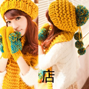 毛糸マフラー+手袋+帽子セットレディース冬