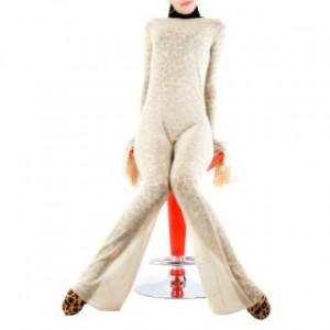 ヒョウ柄 女性 ライクラ シルクカバー付 キャットスーツ衣装