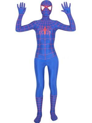 スパイダーマン 全身タイツ  ブルー オレンジしま衣装