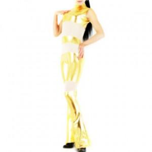 ゴールデン シルク/シャイニー メタリック 女性 スパンデックス キャットスーツ衣装