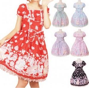 パステル色のモチーフが可愛すぎる! お茶目なリスのパーティ柄ドレス  ゴスロリ ロリータ パンク コスプレ コスチューム メイ衣装