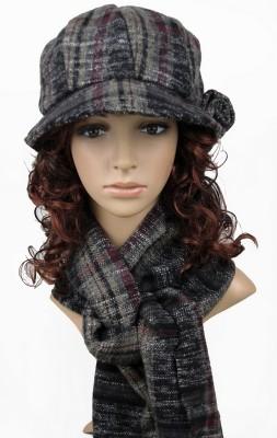 秋冬中老人用毛糸帽子マフラー2セット レディース帽子