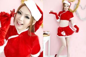 チャイナサンタドレス クリスマス パーティー コスチューム衣装