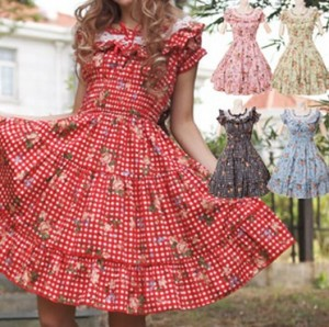 ローズギンガムワンピース ゴスロリ ロリータ パンク コスプレ コスチューム メイド衣装
