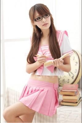 ピンク学生制服 日韓 少女 コスプレ ホテル制服