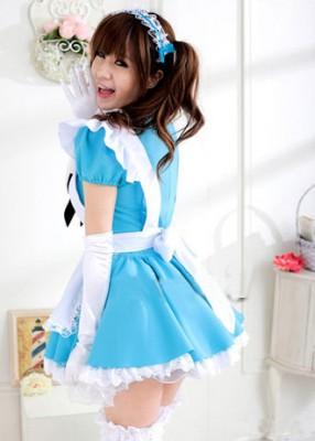 可愛いメイド服コスプレ レース縁飾りスカート4点セット