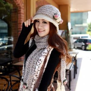 冬レディースカワイイカシミヤ帽子+マフラー