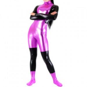 フクシア/ブラック 混色 シャイニー メタリック 女性 スパンデックス キャットスーツ衣装