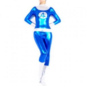 ブルー/シルバー シャイニー メタリック 女性 スパンデックス キャットスーツ衣装